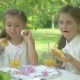 The Cute Girls Eating the Donuts in the Garden - VideoHive Item for Sale