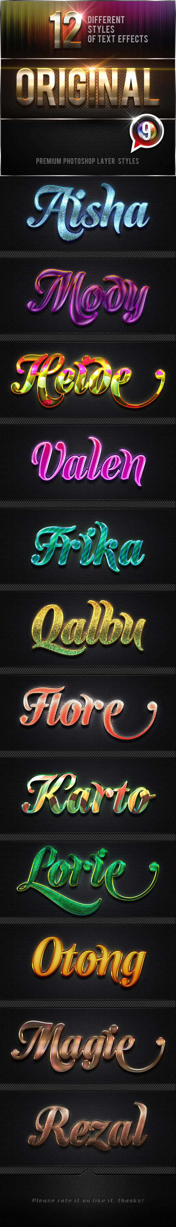 12 Original Photoshop Text Effects Vol.10 - Text Effects Styles