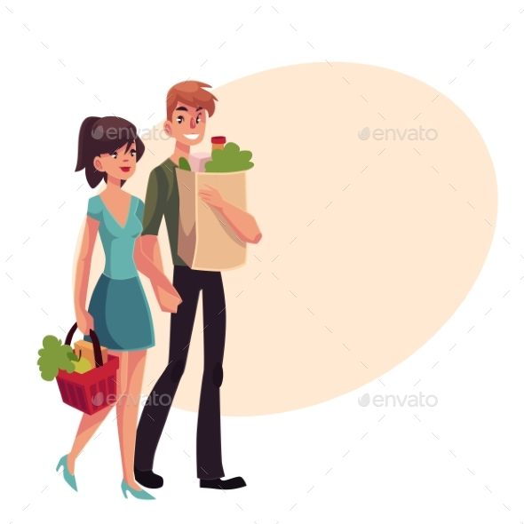 Young Couple Buying Food at Grocery Store - People Characters
