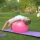 The Girl Doing Exercises with Ball in Garden - VideoHive Item for Sale