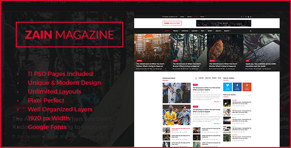 ZAIN News & Magazine PSD Template - Miscellaneous PSD Templates