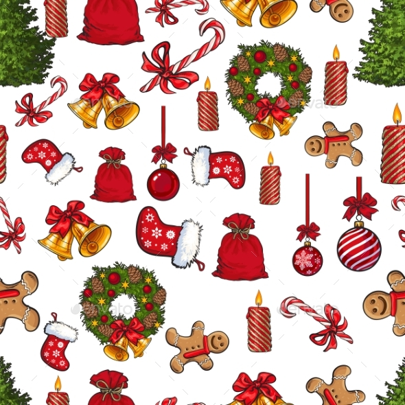 Colorful Seamless Pattern with Traditional - Christmas Seasons/Holidays