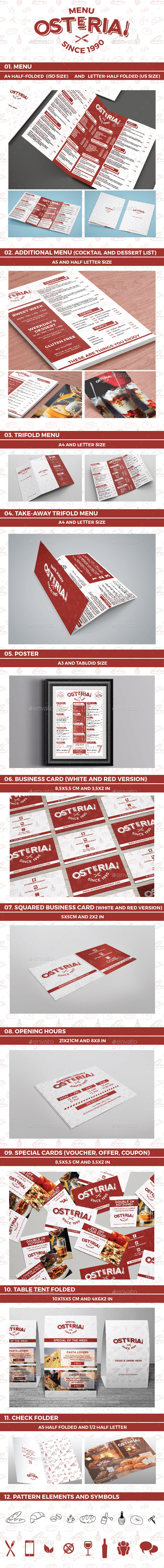 Osteria! Multi-Menu Template - Food Menus Print Templates