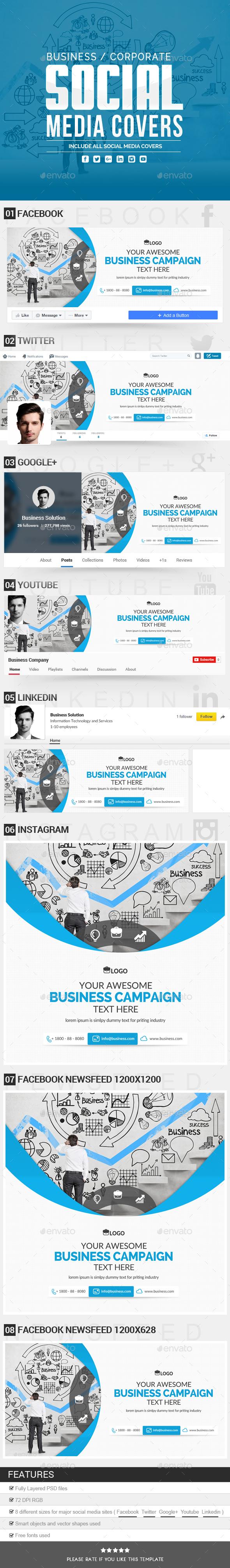 Business Social Media Covers - Social Media Web Elements