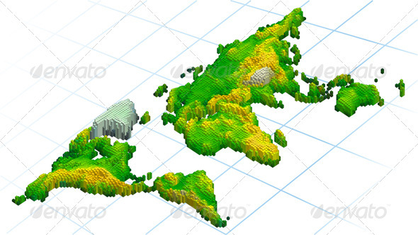 Abstract World Map In Cubes  - Backgrounds Decorative