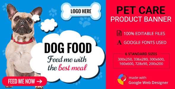 GWD | Pet Care Products HTML5 Ad Banners - 06 Sizes - CodeCanyon Item for Sale