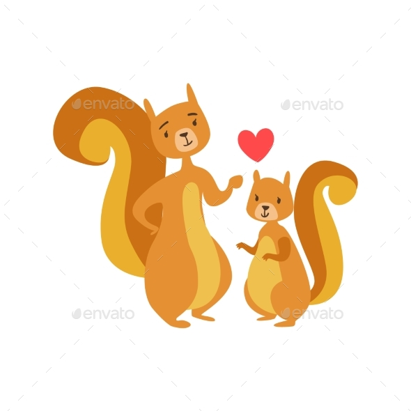 Squirrel Dad Animal Parent And Its Baby Calf - Illustrations Graphics
