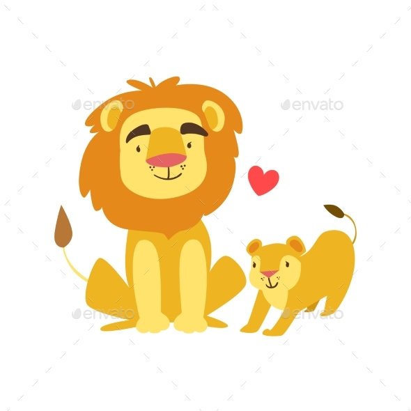 Lion Dad Animal Parent And Its Baby Calf - Illustrations Graphics