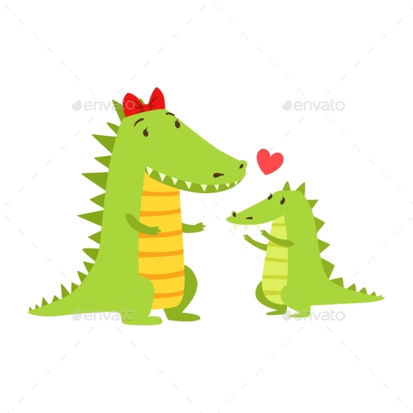 Crocodile Mom With Red Bow Animal Parent And Its - Illustrations Graphics
