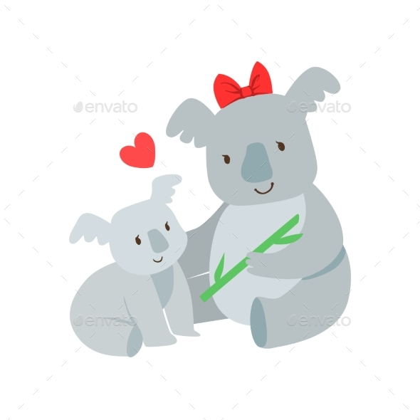 Koala Mom With Red Bow Animal Parent And Its Baby - Illustrations Graphics