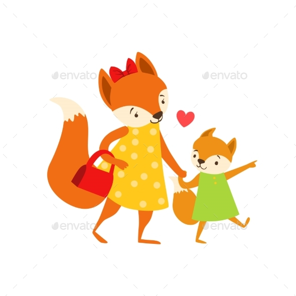 Fox Mom In Dress With Handbag Animal Parent And - Illustrations Graphics