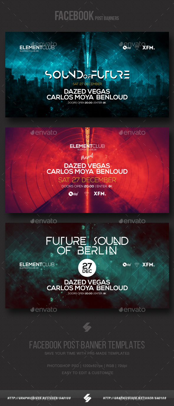 Electronic Music Party vol.8 - Facebook Post Banner Templates - Social Media Web Elements
