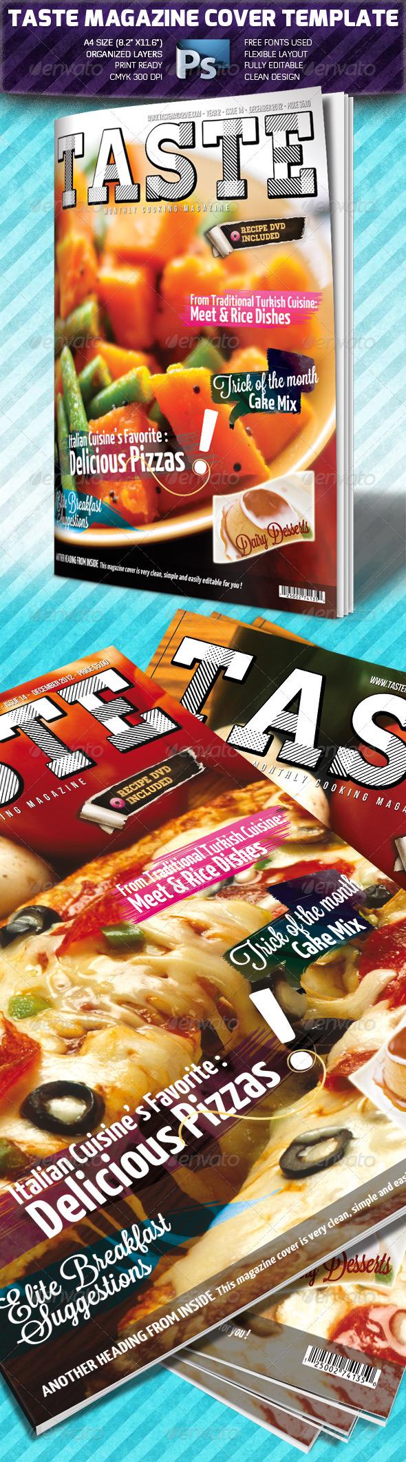 Taste A4 Magazine Cover Template - Magazines Print Templates