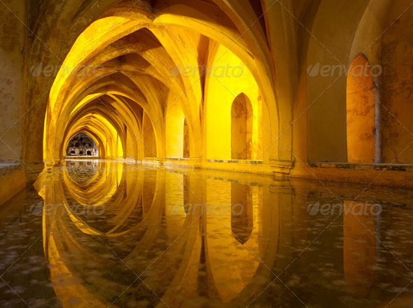 Alcazar queen's bath, Seville, Andalusia, Spain - Stock Photo - Images