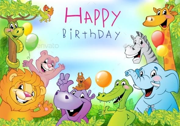 Cartoon Animals Birthday Greeting Card - Animals Characters