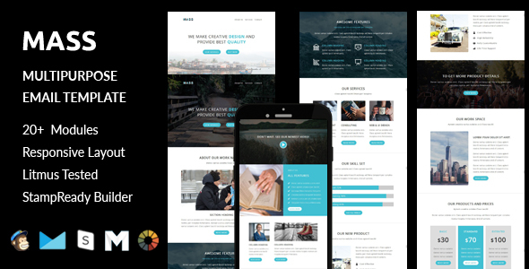 Image of MASS - Multipurpose Responsive Email Template + Stampready Builder Online Access