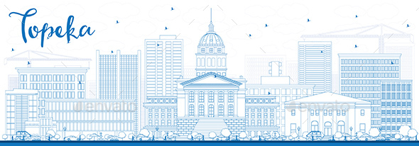 Outline Topeka Skyline with Blue Buildings - Buildings Objects