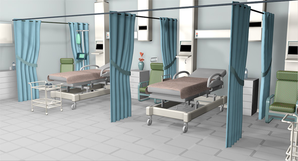 Hospital room and corridor - 3DOcean Item for Sale
