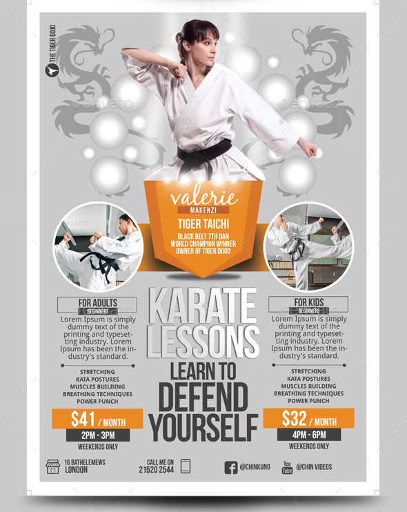 kung fu tai chi karate flyer template by blogankids graphicriver. Black Bedroom Furniture Sets. Home Design Ideas