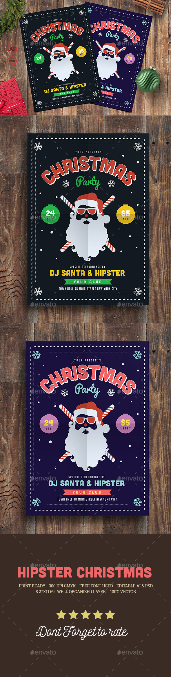 Hipster Christmas Party Flyer - Events Flyers