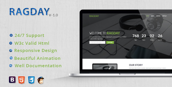 RagDay – Responsive Coming Soon Template