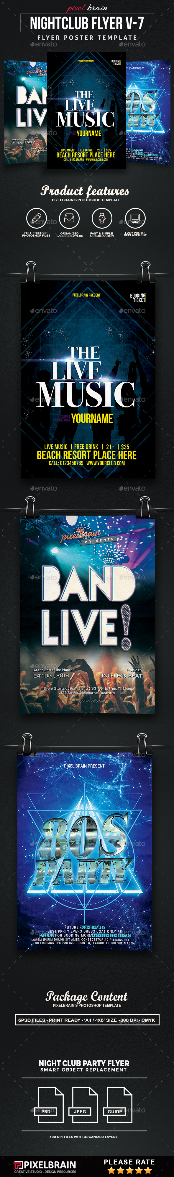 Night Club Party Flyer Template Bundle Vol - 07 - Clubs & Parties Events