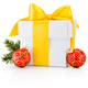 White gift box tied yellow ribbon and two Christmas bauble Isola - PhotoDune Item for Sale
