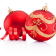 Red christmas decoration baubles and curling paper isolated on w - PhotoDune Item for Sale
