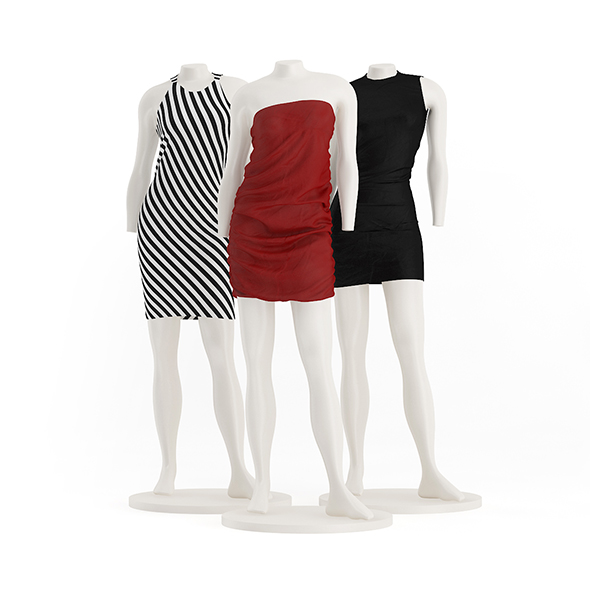 Store Mannequins with Dresses - 3DOcean Item for Sale