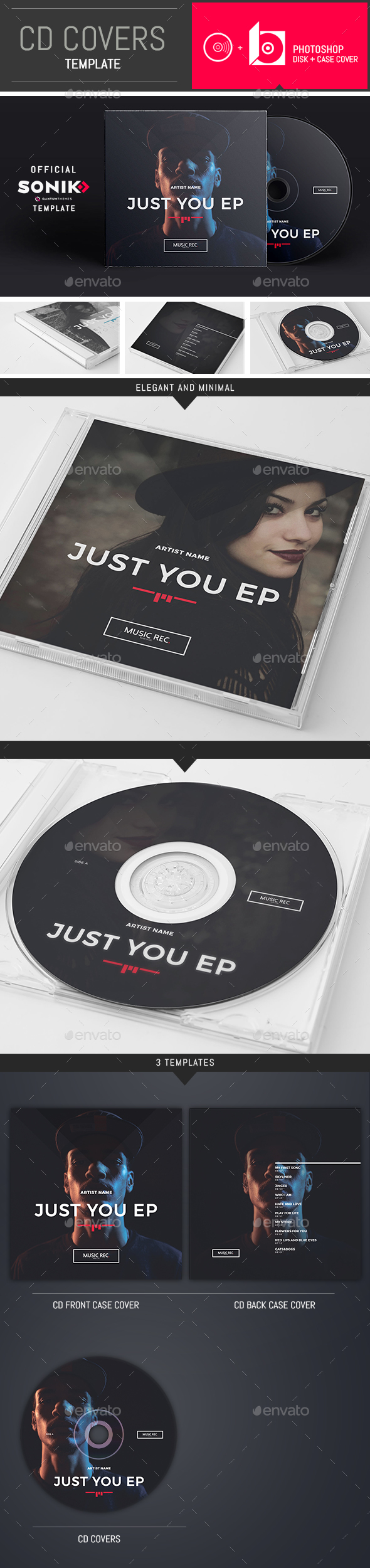 SONIK: DJ / Musician / Band CD Cover Template - CD & DVD Artwork Print Templates