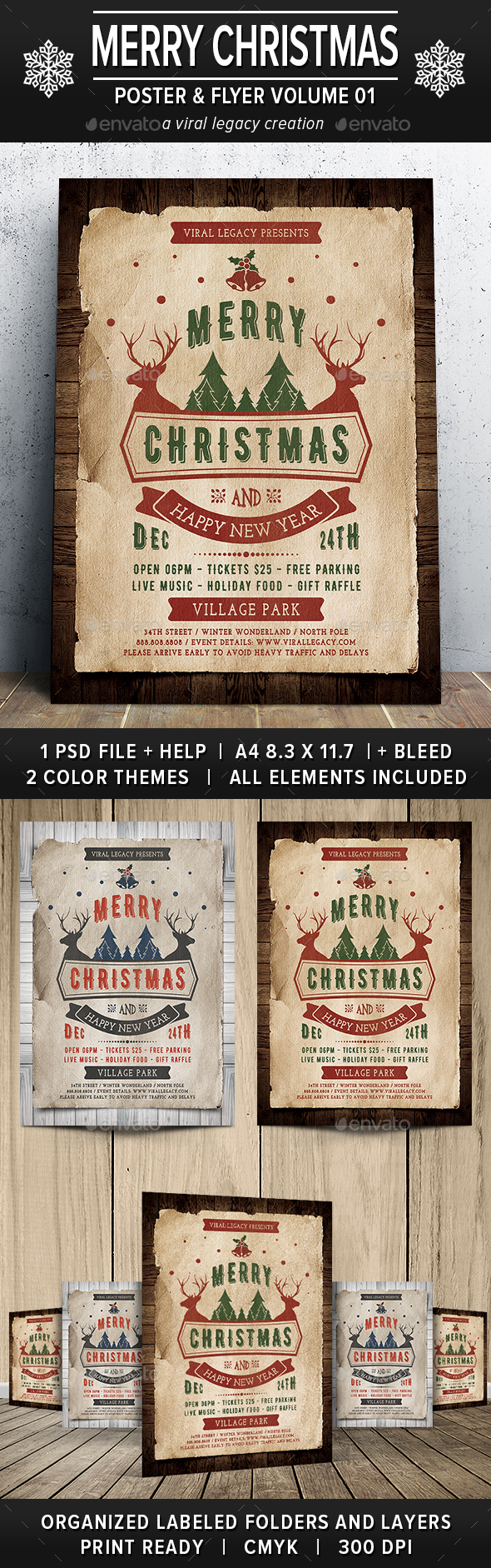 Merry Christmas Poster / Flyer V01 - Events Flyers