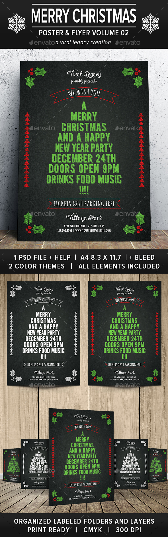 Merry Christmas Poster / Flyer V02 - Events Flyers