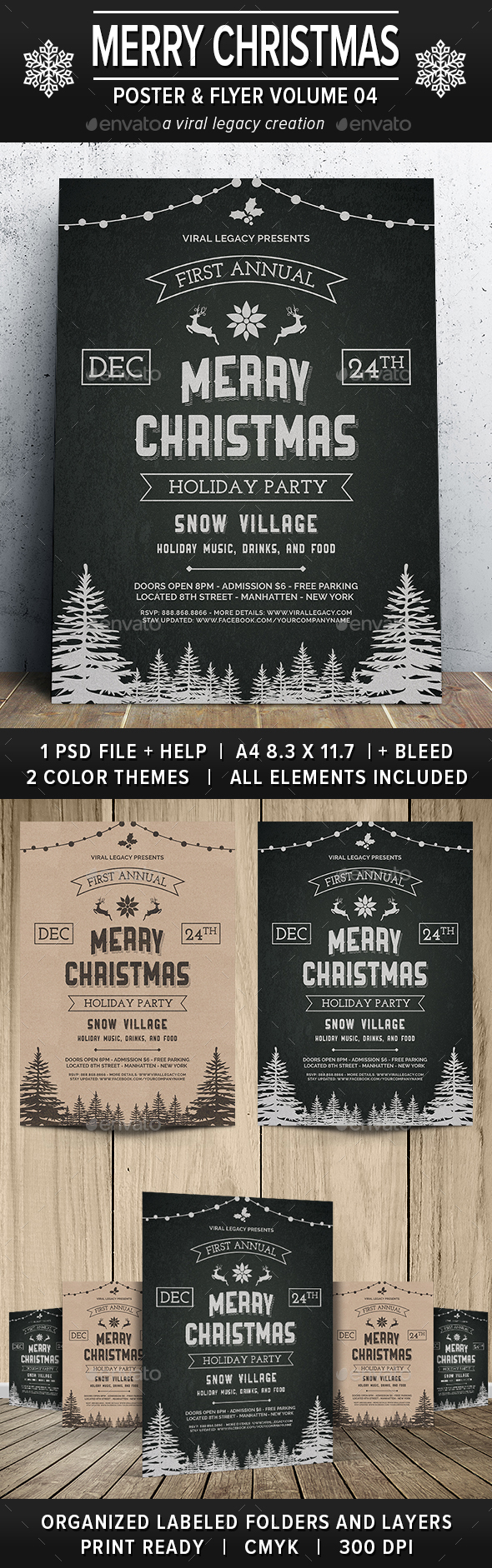Merry Christmas Poster / Flyer V04 - Events Flyers