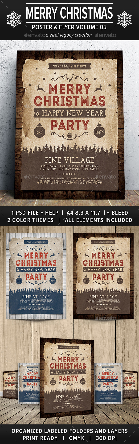 Merry Christmas Poster / Flyer V05 - Flyers Print Templates