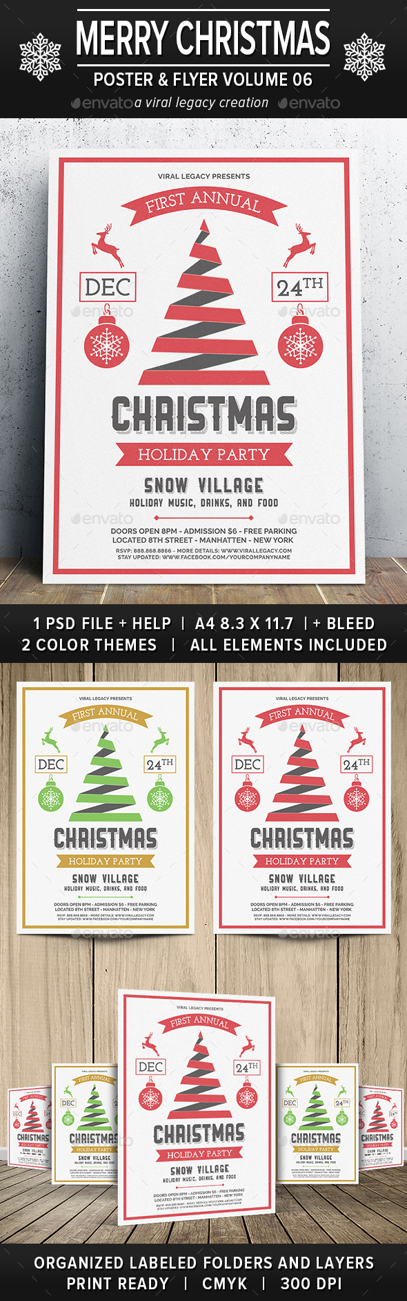 Merry Christmas Poster / Flyer V06 - Flyers Print Templates
