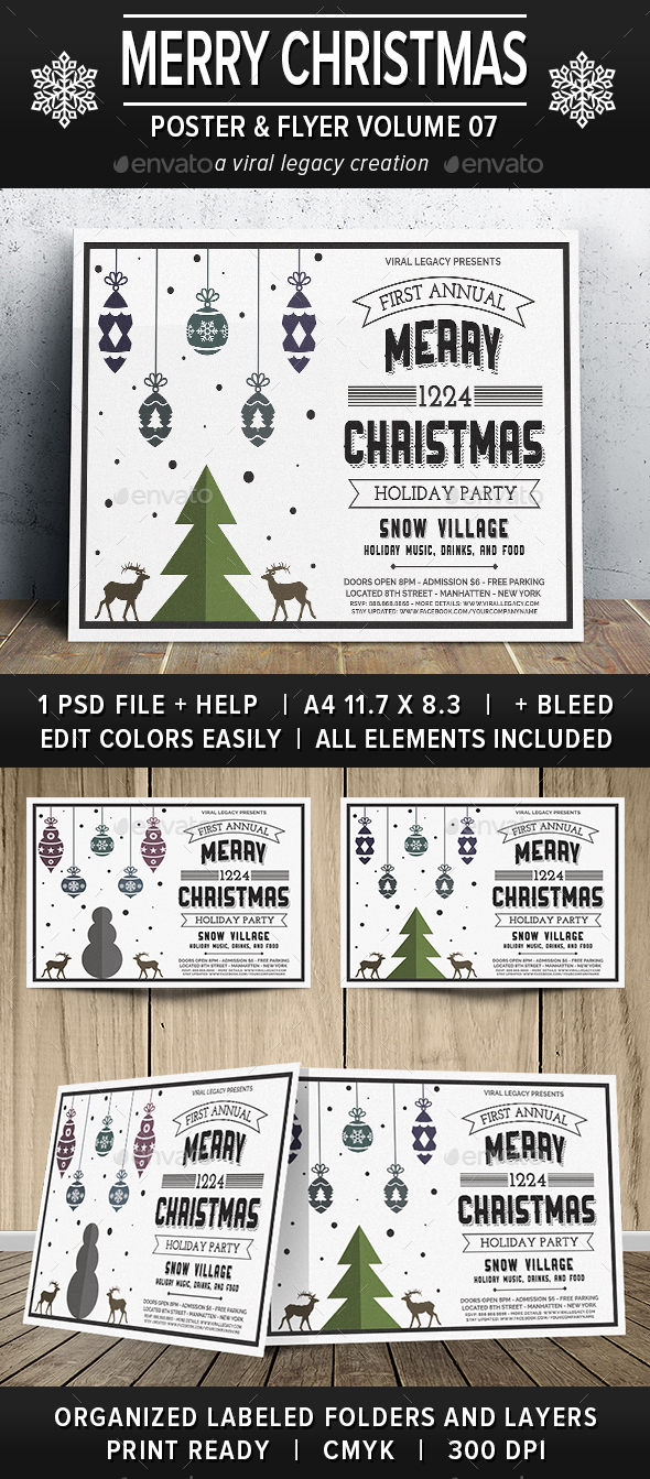 Merry Christmas Poster / Flyer V07 - Flyers Print Templates