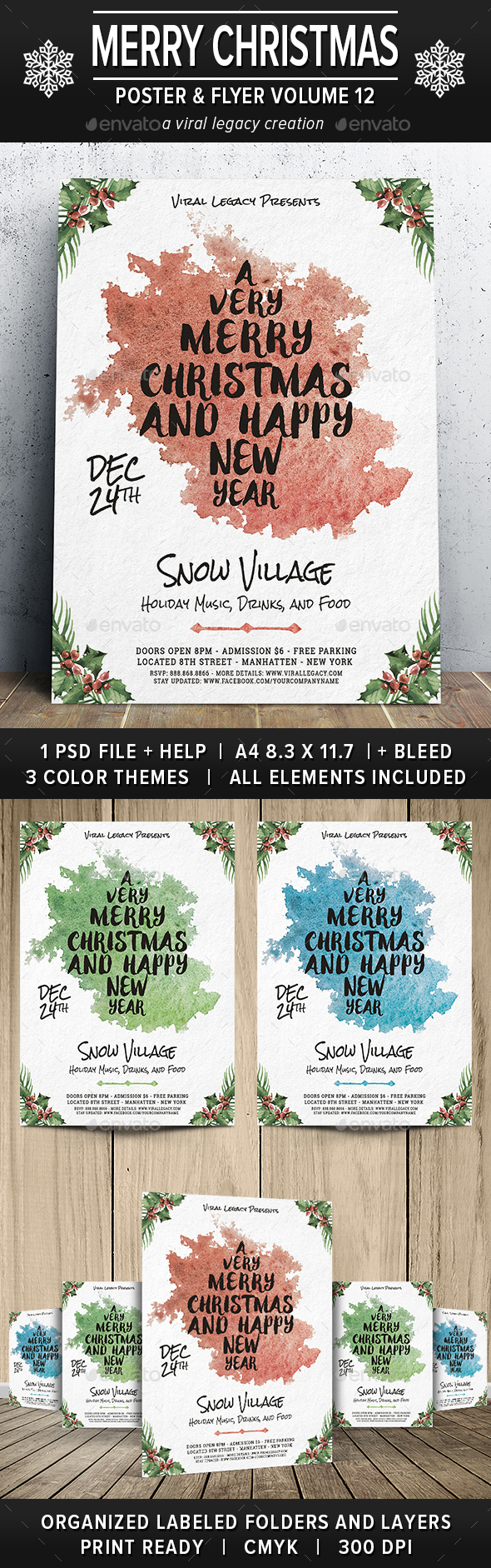 Merry Christmas Poster / Flyer V12 - Flyers Print Templates