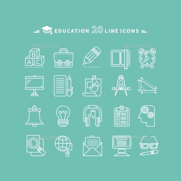 Set of Outline Education Icons - Miscellaneous Conceptual