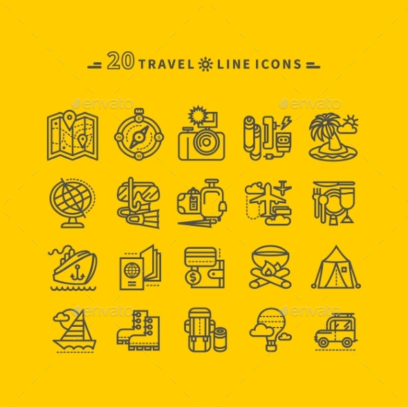 Set of Black Travel Icons on Yellow Background - Travel Conceptual