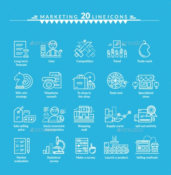 Thin Lines Icons Set of Marketing - Web Technology