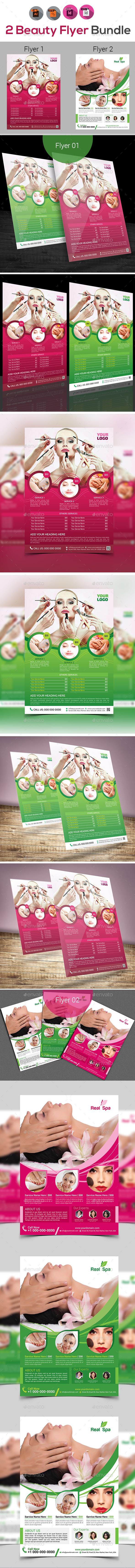 Spa & Beauty Saloon Flyer Bundle - Flyers Print Templates