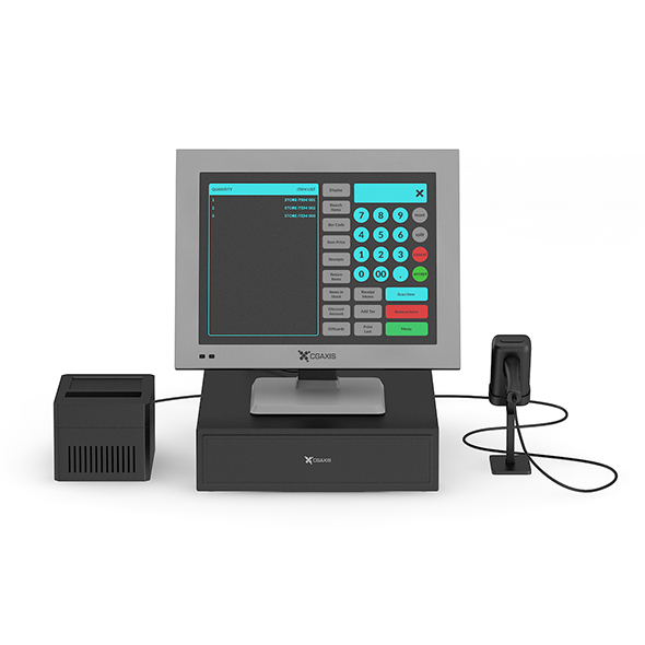 Cash Register with Scanner and Printer - 3DOcean Item for Sale