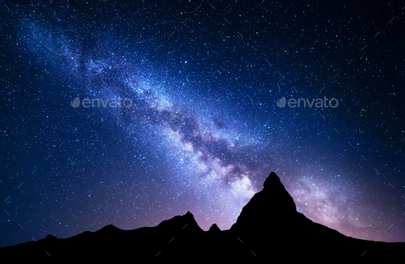 NIght landscape with Milky Way at mountains - Stock Photo - Images