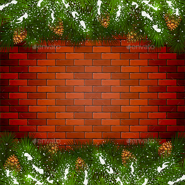 Brick Wall Background with Christmas Fir Tree Branches and Snow - Christmas Seasons/Holidays