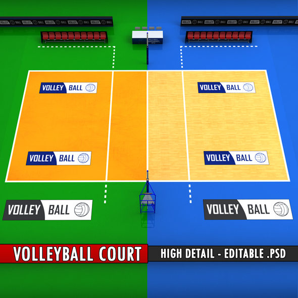 Volleyball court high detail low poly - 3DOcean Item for Sale