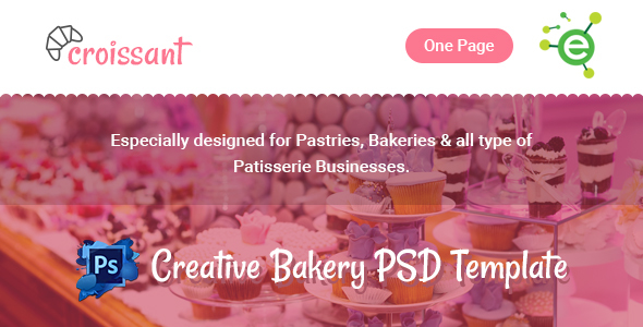 Croissant – Creative Bakery and Pastry Business One Page PSD Template
