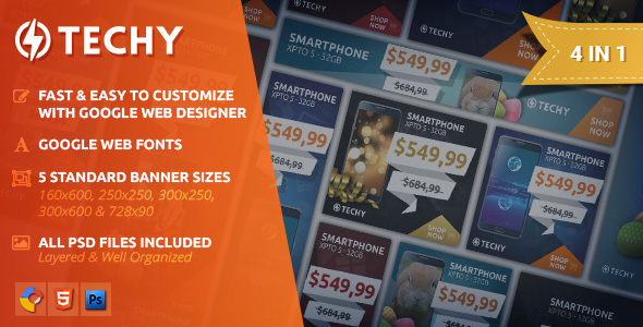 Techy - Holiday Sales HTML5 Banner Template - CodeCanyon Item for Sale