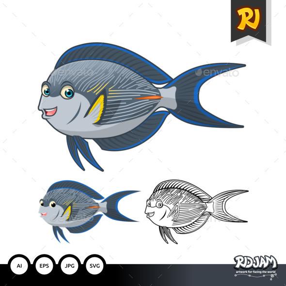Sohal Surgeon Fish Cartoon Character - Animals Characters