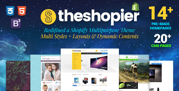 Shopier – DRAG & DROP Responsive Fashion, Electronics, Gifts, Super Market Shopify Theme