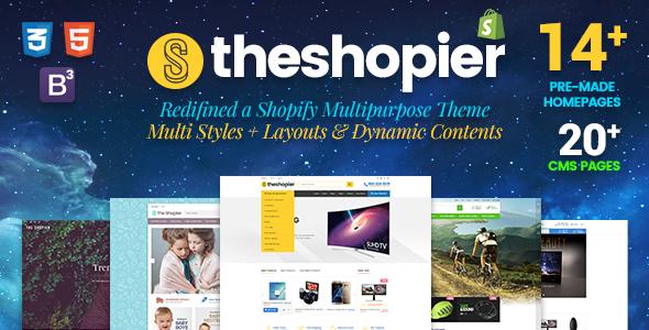 Shopier - DRAG & DROP Responsive Fashion, Electronics, Gifts, Super Market Shopify Theme